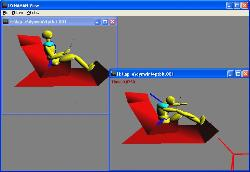 Dynaman simulation of seated occupant and child seat